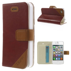 Crazy Horse Leather Card Slot Magnetic Cover w/ Stand for iPhone 4s 4 - Brown