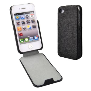 Black for iPhone 4s 4 Lines Texture Vertical Flip PU Leather Case
