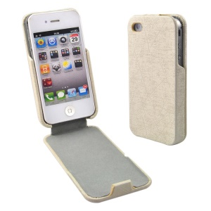 Beige for iPhone 4s 4 Lines Texture Vertical Flip PU Leather Cover