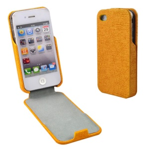 Orange for iPhone 4s 4 Lines Texture Vertical Flip PU Leather Shell