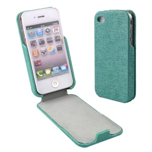Cyan for iPhone 4s 4 Lines Texture Vertical Flip PU Leather Case Phone Accessory