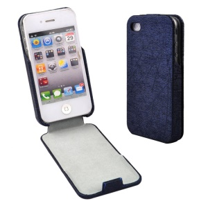 Blue for iPhone 4s 4 Lines Texture Vertical Flip PU Leather Cover Accessory