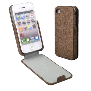 Brown for iPhone 4s 4 Lines Texture Vertical Flip PU Leather Case Cover