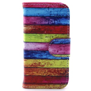 Flip Leather Stand Case w/ Card Slots for iPhone 4s 4 - Colorful Stripes