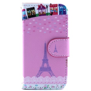 Leather Stand Cover w/ Card Slots for iPhone 4s 4 - Cartoon Eiffel Tower