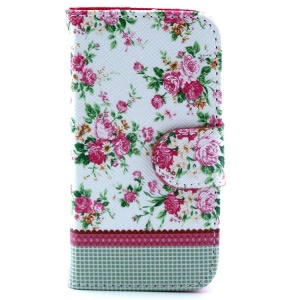 PU Leather Flip Cover Card Holder for iPhone 4s 4 - Girly Roses Flower