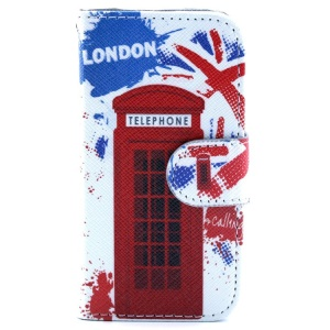 Leather Flip Stand Wallet Case for iPhone 4s 4 - London Telephone Box