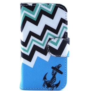 Leather Wallet Cover for iPhone 4s 4 - Chevron Stripes & Navy Anchor