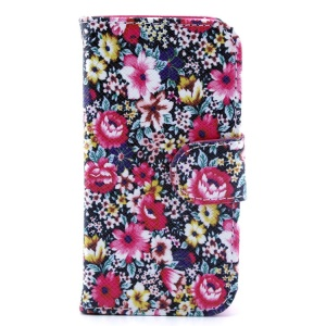 Magnetic Flip Leather Case Card Holder for iPhone 4s 4 - Colored Flowers