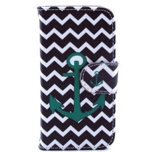 Leather Flip Stand Case for iPhone 4s 4 - Chevron Stripes & Green Anchor
