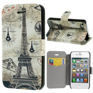 France Eiffel Tower Leather Stand Case for iPhone 4s 4