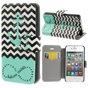 Anchor & Chevron Stripes Leather Stand Cover for iPhone 4s 4