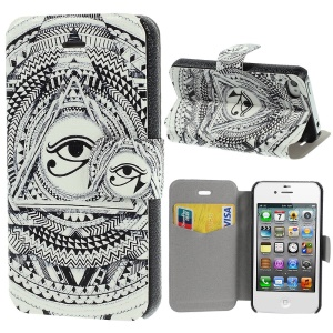 Eye of Horus Pattern Leather Stand Shell for iPhone 4s 4