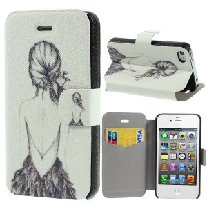 Beautiful Back of Girl Pattern Leather Stand Shell for iPhone 4s 4