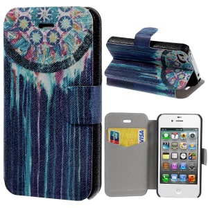 Dreamcatcher Mesh Pattern Stand Leather Shell for iPhone 4s 4