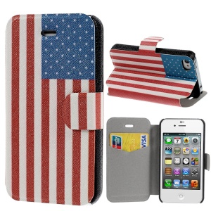 USA National Flag Stand Leather Case for iPhone 4s 4