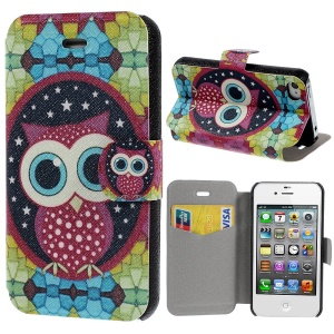 Lovely Owl Pattern Stand Leather Case for iPhone 4s 4