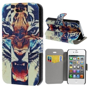 Angry Tiger Pattern Leather Stand Skin Shell for iPhone 4s 4