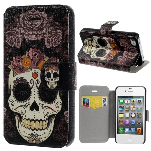 Flower Skull Pattern Leather Stand Shell for iPhone 4s 4