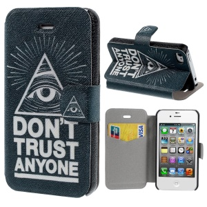 Leather Stand Cover for iPhone 4s 4 Quote DO NOT TRUST ANYONE