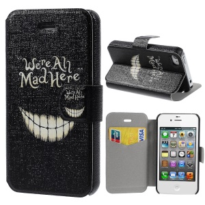 Leather Stand Cover for iPhone 4s 4 Quote We Are All Mad Here