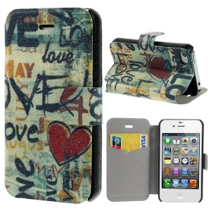 Heart & Love Pattern Leather Stand Phone Cover for iPhone 4s 4