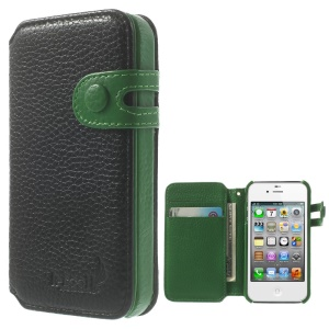 K-cool Litchi Texture Genuine Leather Wallet Case for iPhone 4s 4 - Black