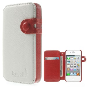 K-cool Litchi Texture Genuine Leather Wallet Cover for iPhone 4s 4 - White