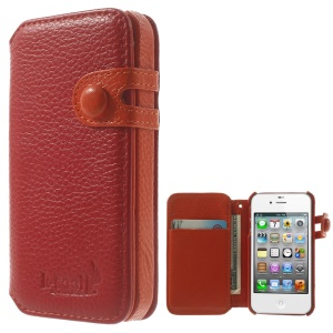 K-cool Litchi Grain Genuine Leather Wallet Cover for iPhone 4s 4 - Red
