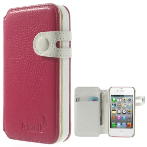 K-cool Litchi Grain Genuine Leather Wallet Shell for iPhone 4s 4 - Rose