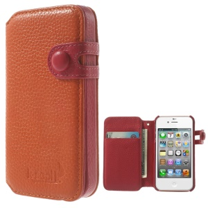 K-cool Litchi Texture Genuine Leather Card Holder Case for iPhone 4s 4 - Orange