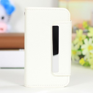 Lychee Texture 2 in 1 PU Leather Cover + PC Hard Case for iPhone 4s 4 - White