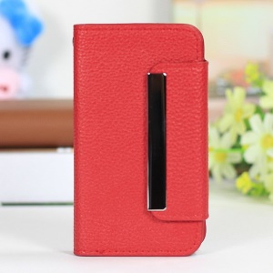 Lychee Texture 2 in 1 PU Leather Cover + PC Hard Shell for iPhone 4s 4 - Red