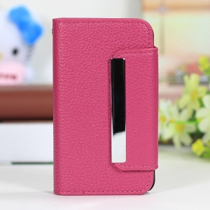 Lychee Texture 2 in 1 PU Leather Cover + PC Hard Shell for iPhone 4s 4 - Rose