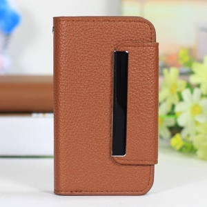 Lychee Texture 2 in 1 PU Leather Cover + PC Shell for iPhone 4s 4 - Brown