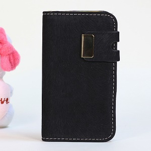 Squirrel Texture Magnetic Flip PU Leather Cover + PC Shell for iPhone 4s 4 - Black