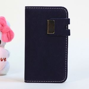 Squirrel Texture Magnetic Flip PU Leather Skin + PC Case for iPhone 4s 4 - Dark Blue
