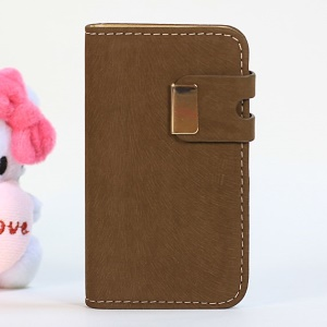 Squirrel Texture Magnetic Flip PU Leather Skin + PC Case for iPhone 4s 4 - Brown