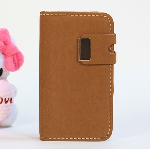 Squirrel Texture Magnetic Flip PU Leather Skin + PC Case for iPhone 4s 4 - Light Brown