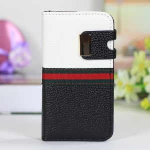 Two-tone LycheeTexture Magnetic Leather Case for iPhone 4s 4 - White / Black