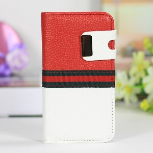 Two-tone LycheeTexture Flip Leather Cover for iPhone 4s 4 - Red / White