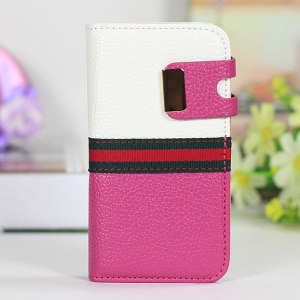 Two-tone LycheeTexture Flip Leather Shell for iPhone 4s 4 - White / Rose
