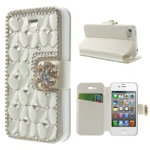 Shiny Rhinestone Coated Leather Stand Protective Shell for iPhone 4s 4 - White