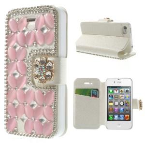 Shiny Rhinestone Coated Leather Flip Case Shell for iPhone 4s 4 - Pink