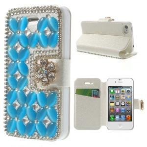 Shiny Rhinestone Coated Leather Stand Flip Case for iPhone 4s 4 - Blue