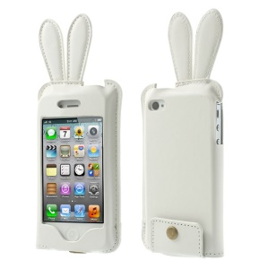 Hamee Usamimi Rabbit Ear Design Leather Pouch Case for iPhone 4s 4 - White