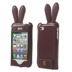 Hamee Usamimi Rabbit Ear Design Leather Pouch Case for iPhone 4s 4 - Wine Red