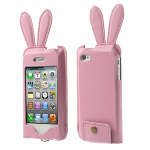Hamee Usamimi Rabbit Ear Design Leather Pouch Cover for iPhone 4s 4 - Pink