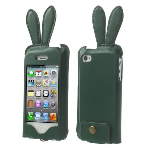 Hamee Usamimi for iPhone 4s 4 Rabbit Ear Leather Skin Pouch - Deep Green