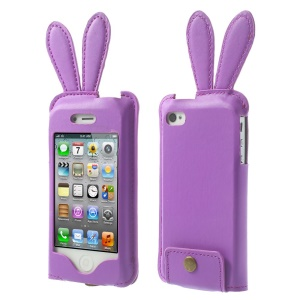Hamee Usamimi for iPhone 4s 4 Rabbit Ear PU Leather Skin Pouch - Purple